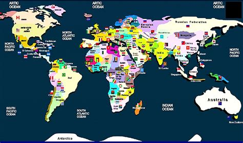 world map with country names and flags manash subhaditya edusoft world atlas and geography