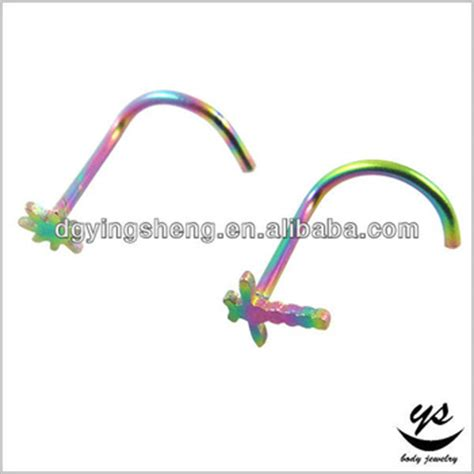 flesh colored nose stud anodzing rainbow jewelry flesh colored nose studs