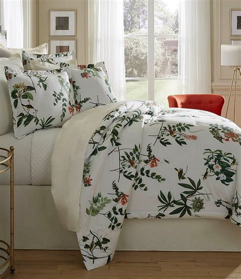 southern bedding southern living jardin botanical bird print satin
