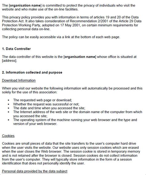 free privacy policy templates 13 privacy policy templates free pdf sles exles