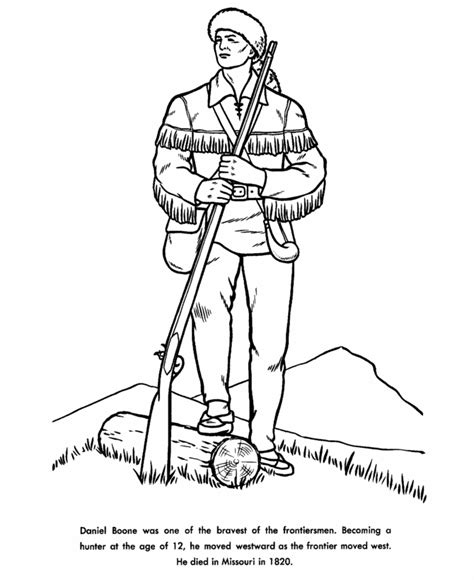 Daniel Boone Coloring Page usa printables daniel boone coloring pages americans in us history coloring sheets
