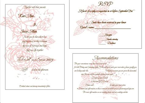 wedding invitation insert templates 6 best images of printable invitation inserts free