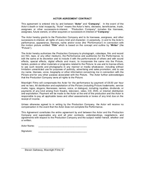 acting contract template blank actor contract