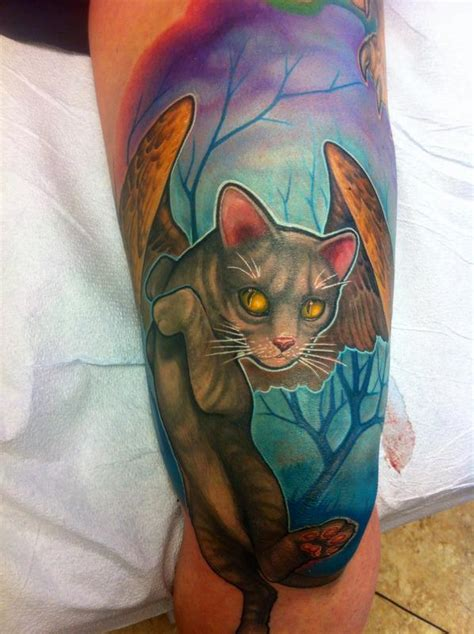 cat tattoo artist winged cat tattoo by matt driscoll tattoos