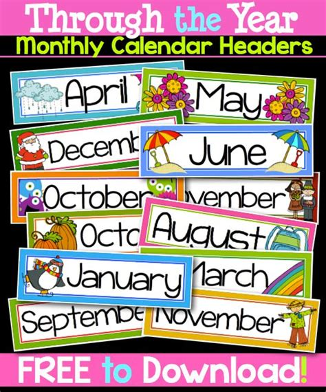 Calendar Headers 8 Best Images Of Printable Month Headers Free Printable