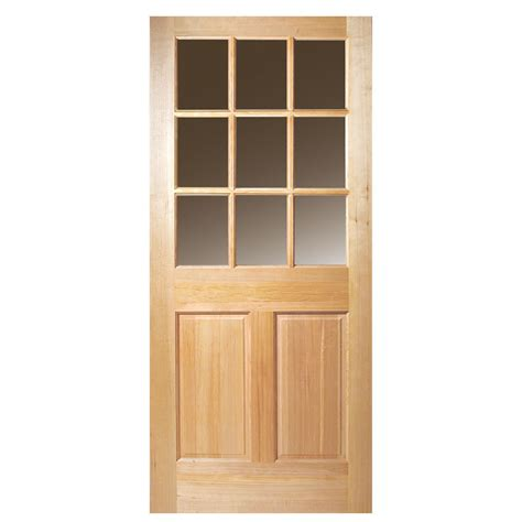 Solid Wood Exterior Door Slab Shop Masonite 2 Panel Solid Wood 9 Lite Hem Fir Unfinished Slab Entry Door Common 36 In X