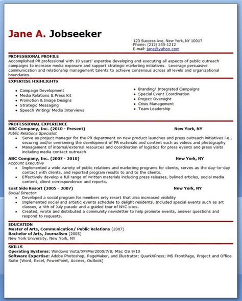 sle resume for public relations officer creative
