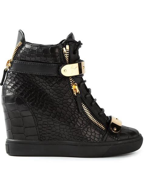 hi top wedge sneakers giuseppe zanotti concealed wedge heel hi top sneakers in