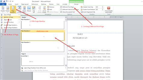 cara membuat no halaman otomatis pada word 2007 cara membuat nomor halaman berbeda posisi pada microsoft word