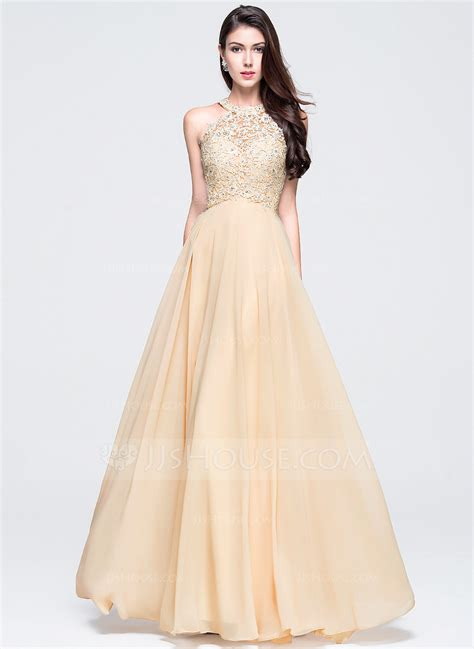 a line princess scoop neck floor length chiffon prom dress with beading 018070353 jjshouse