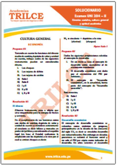 academias trilce uni solucionarios del examen de admisi 243 n uni 2014 2 prueba