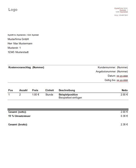 Angebot Muster Openoffice Kostenvoranschlag Muster Angebot Vorlage