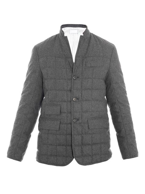 black fleece quilted jacket in gray for grey lyst