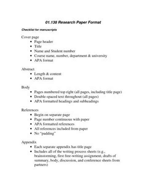 college research paper format
