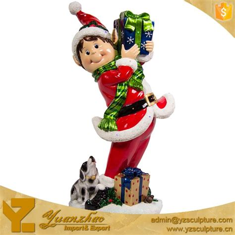 life size fiberglass christmas elf statue for hot sale