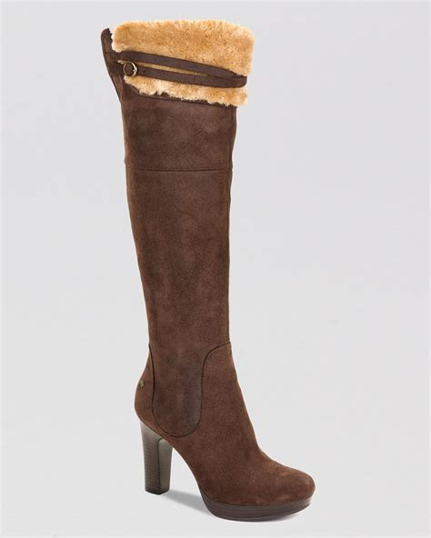 high heel ugg boots ugg ophira high heel the knee platform boots in brown
