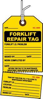 repair tags, maintenance tags, equipment repair tags