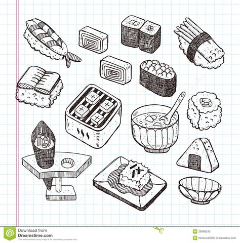 doodle food icons vector doodle japanese food icon set stock photos image 29568243