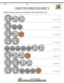 Counting money worksheets count the coins to 1 dollar 3