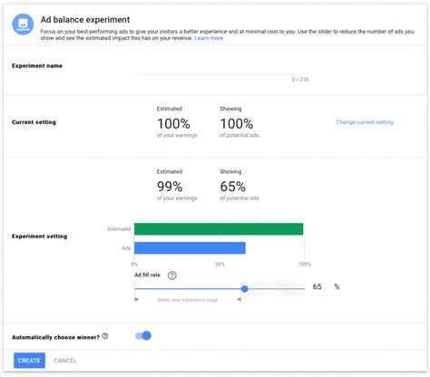 adsense experiments google adsense adds ad balance experiments search