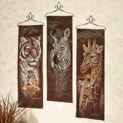 safari animal wall tapestry panel set