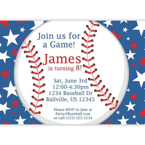 printable birthday baseball invitations baseball party invitation red white and blue star baseball