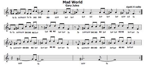 mad world gary jules testo musica e spartiti gratis per flauto dolce mad world