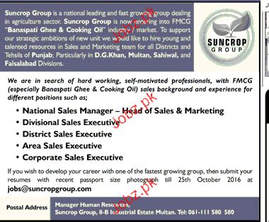 National Sales Managers by National Sales Manager District Sales Executives Wanted 2018 Pakistan Jobz Pk
