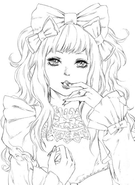 coloring book drawings coloring coloriage femme kawaii colouring