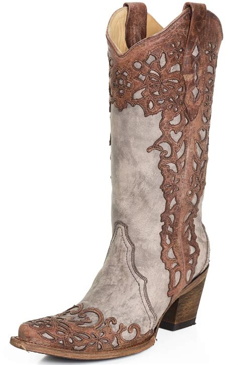 cowboy boots womans corral womens laser overlay cowboy boots cognac sand