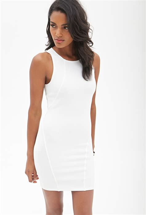 knit bodycon dress forever 21 ribbed knit bodycon dress in white lyst