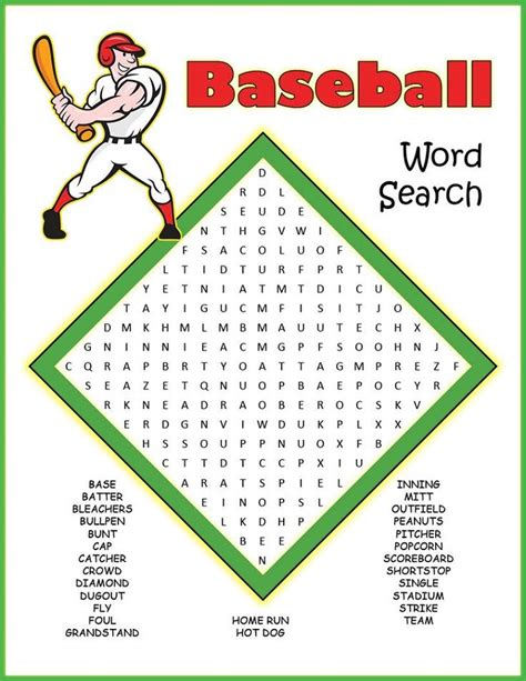printable word search baseball activity shelter