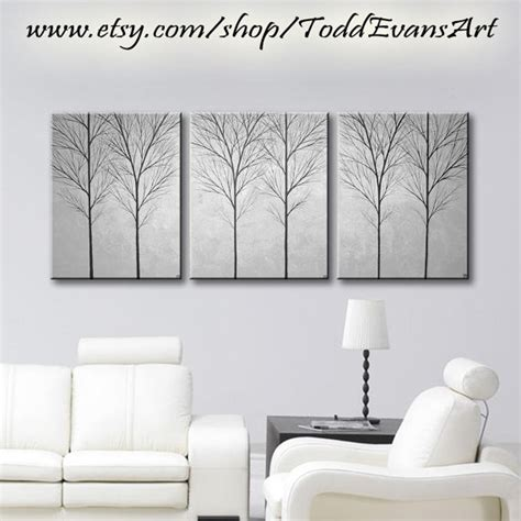 gray wall decor sale large wall art canvas art home decor tree by toddevansart
