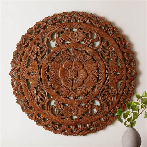 buy authentic circular floral wooden wall hanging