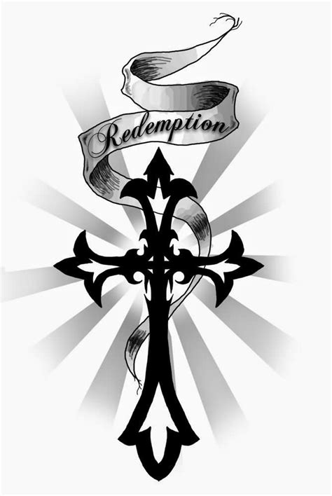 cross with banner tattoo redemption banner and tribal cross design tats