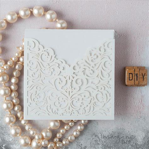 wedding invitation white laser cut invitation imagine diy