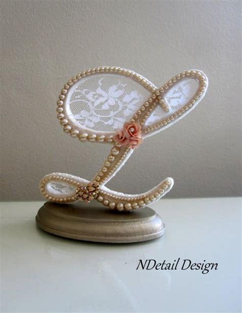 Wedding L by Wedding Cake Topper Monogram Pearl Letter L Ivory