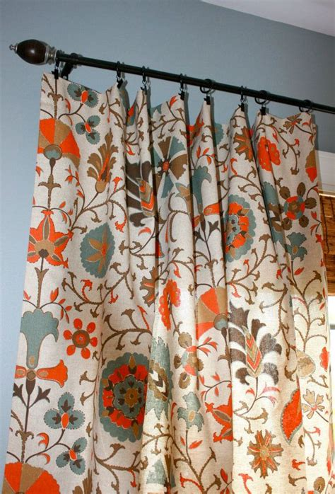 orange and turquoise curtains suzani designer curtain panel oatmeal turquoise orange