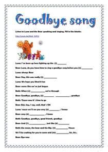 goodbye song worksheet free esl printable worksheets