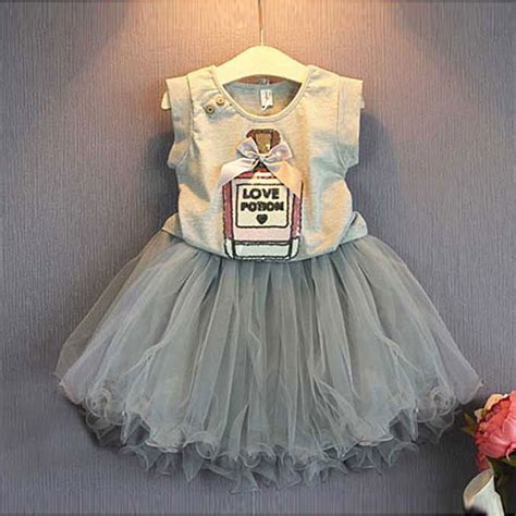 Dress Anak Catty Lucu 2018 summer toddler dress clothing children suit for brand cotton clothes set