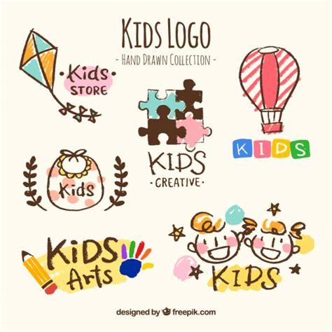 kids logo design stock illustration image of childhood hand drawn collection of six kids logos vector free download
