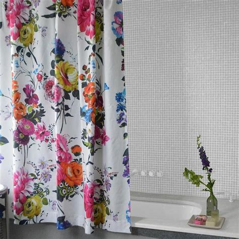 flowered shower curtains floral shower curtains watercolor floral rosamunde