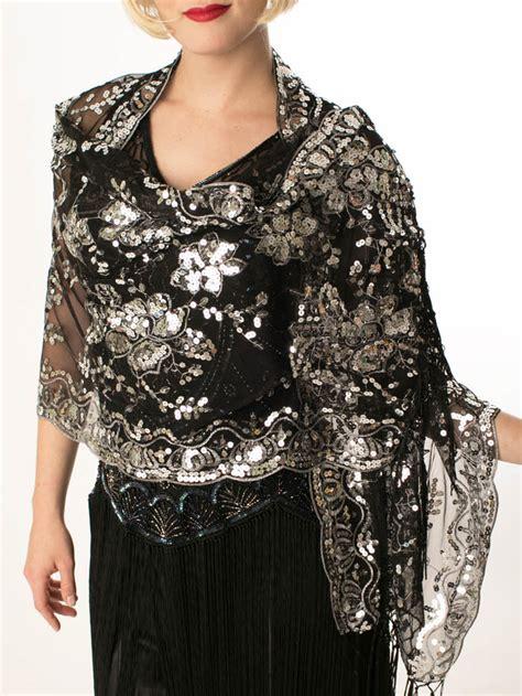 black silver sequined fringed scarf shawl blue velvet