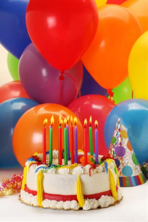 Happy birthday cakes and balloons pictures reference