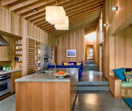 wood interior design in beach house architecture world