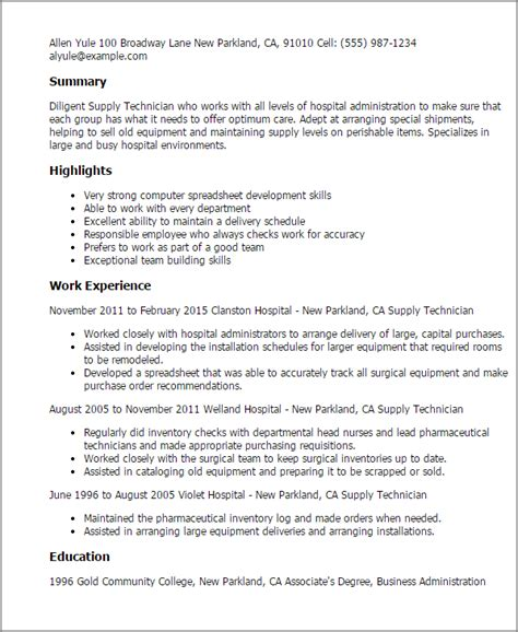 Supply Technician Cover Letter by Professional Supply Technician Templates To Showcase Your Talent Myperfectresume