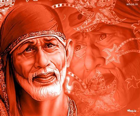 wallpaper 3d sai baba shirdi sai baba 3d with red background hd wallpaper