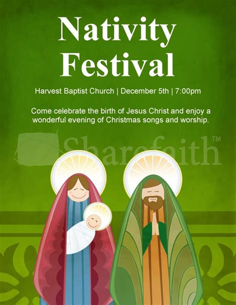 Nativity Christmas Flyer Template Template Flyer Templates Nativity Flyer Template