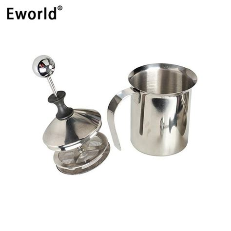 400ml 800ml stainless steel double mesh milk frother milk eworld high quality 400 800ml stainless steel pump milk