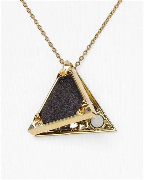 House Of Harlow Jewelry by House Of Harlow 1960 Black Leather Triangle Locket